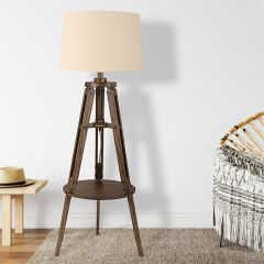Tripod Base Floor Lamp With Linen Shade