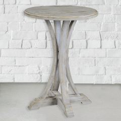 Distressed Round Farmhouse Side Table