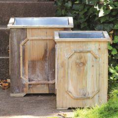 Reclaimed Wood Medallion Planter Box Set of 2