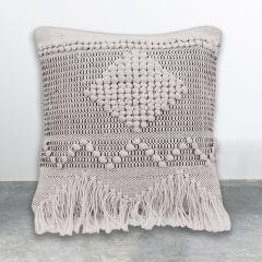 Textured Cotton Fringe Throw Pillow