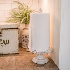 Beaded Wood Pedestal Paper Towel Holder