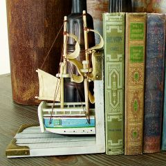 Exquisite Wooden Ship Bookends