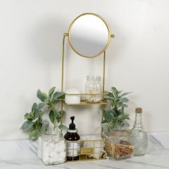 Round Tabletop Mirror With Shelves