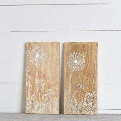 Mango Wood Dandelion Wall Art Set of 2