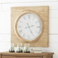 Square Wood Clock With Round Face