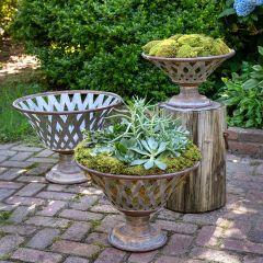 Woven Metal Pedestal Bowl Set of 3