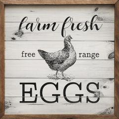 Farm Fresh Eggs White Framed Wall Sign
