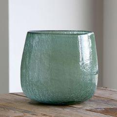 Crackled Glass Vase 9 inch
