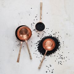 Copper Scoops With Rattan Wrapped Handles Set of 4