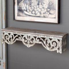 Wood And Metal Filagree Wall Shelf