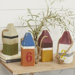 Wood Buoy With Rope Set of 4