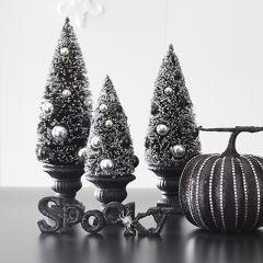 Dark Tabletop Bottlebrush Trees Set of 3