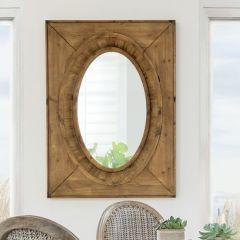 Deep Set Wood Framed Oval Mirror