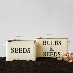 Decorative Bulbs and Seed Metal Boxes Set of 2