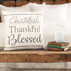 Grateful Thankful Blessed Throw Pillow