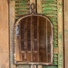 Antiqued Arched Wall Mirror