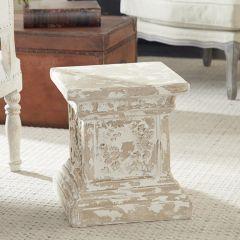 Distressed Column Pedestal End Table