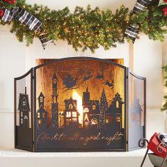 Decorative Christmas Fireplace Screen