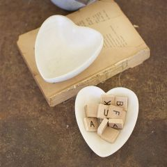 Decorative Carved Stoneware Heart Shaped Bowl