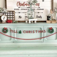 Decorative Christmas Countdown Wood Banner