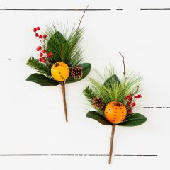 Decorative Fruit And Pine Pick, Set of 2