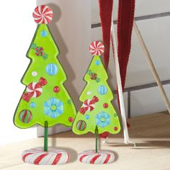 Decorative Hard Candy Christmas Tree, Set of 2