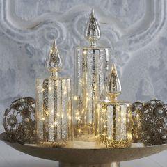 Decorative Mercury Glass LED Candle Set of 3