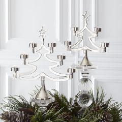 Decorative Metal Tree Tea Light Holder Set of 2