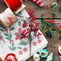 Decorative Red Berry Holiday Stem Set of 3