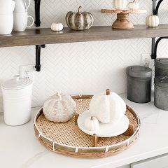 Decorative Round Bamboo Tray Collection Set of 3