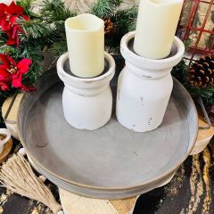 Decorative Round Iron Tray With Handles