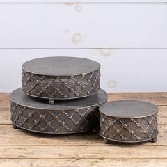 Decorative Round Metal Riser Set of 3