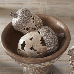 Decorative Tabletop Acorn With Maple Leaf Cutout Set of 2