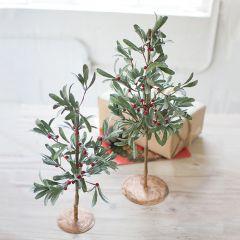 Decorative Tabletop Mistletoe Tree Set of 2