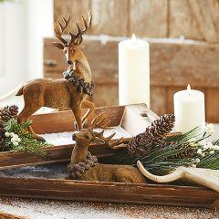 Deer Figure With Pinecone Wreath Set of 2