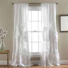 Delicate Textured Floral Curtain Panel 53x84