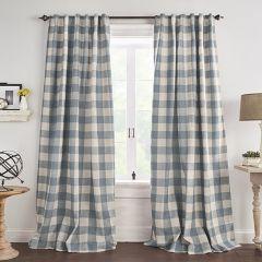 Chambray Buffalo Check Room Darkening Curtain Panel Set of 2 52x84