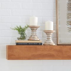 Distressed Wood Candle Stands Set of 2
