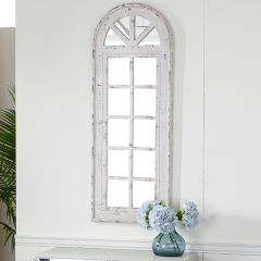 Distressed Arched Wood Mirror, Wall Panel