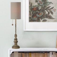 Distressed Buffet Lamp With Cylinder Shade