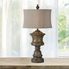 Distressed Column Farmhouse Table Lamp