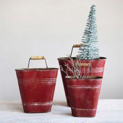 Distressed Finish Vibrant Wall Buckets Set of 3