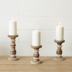 Distressed Fir Wood Beaded Candle Holder Set of 3