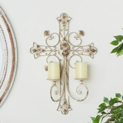 Distressed Metal Cross Wall Sconce