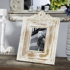 Distressed Photo Frame With Carved Detail