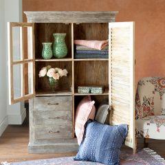 Distressed Wood Shutter Door Storage Cabinet