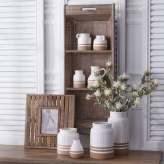 Divided Tray Whitewash Wood Wall Shelf