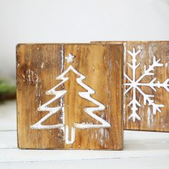 Double Sided Tree and Snowflake Wood Block Set of 2