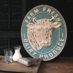 Farm Fresh Round Farmhouse Wall Plaque