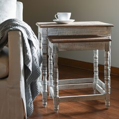 Carved Top Wood Nesting Tables Set of 2